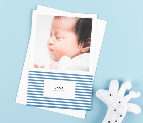 个性化的婴儿感谢卡——罗斯伍德工作室