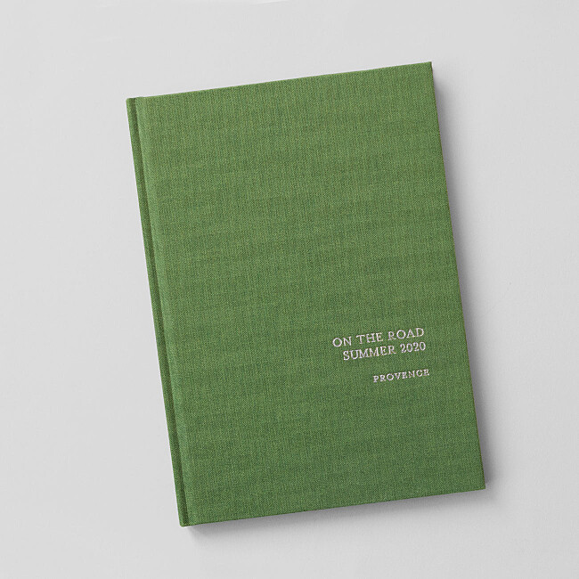 foil fabric hardback notebooks green