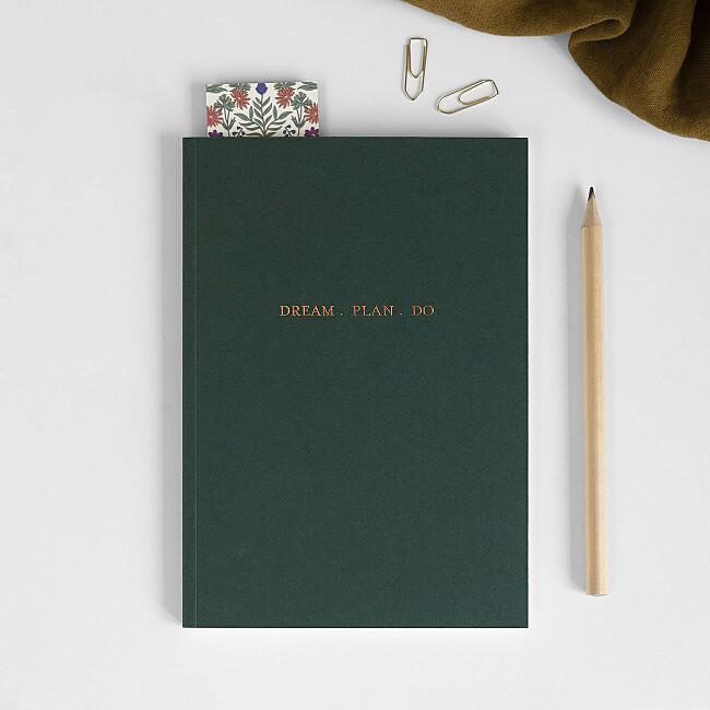 foil softback notebook green