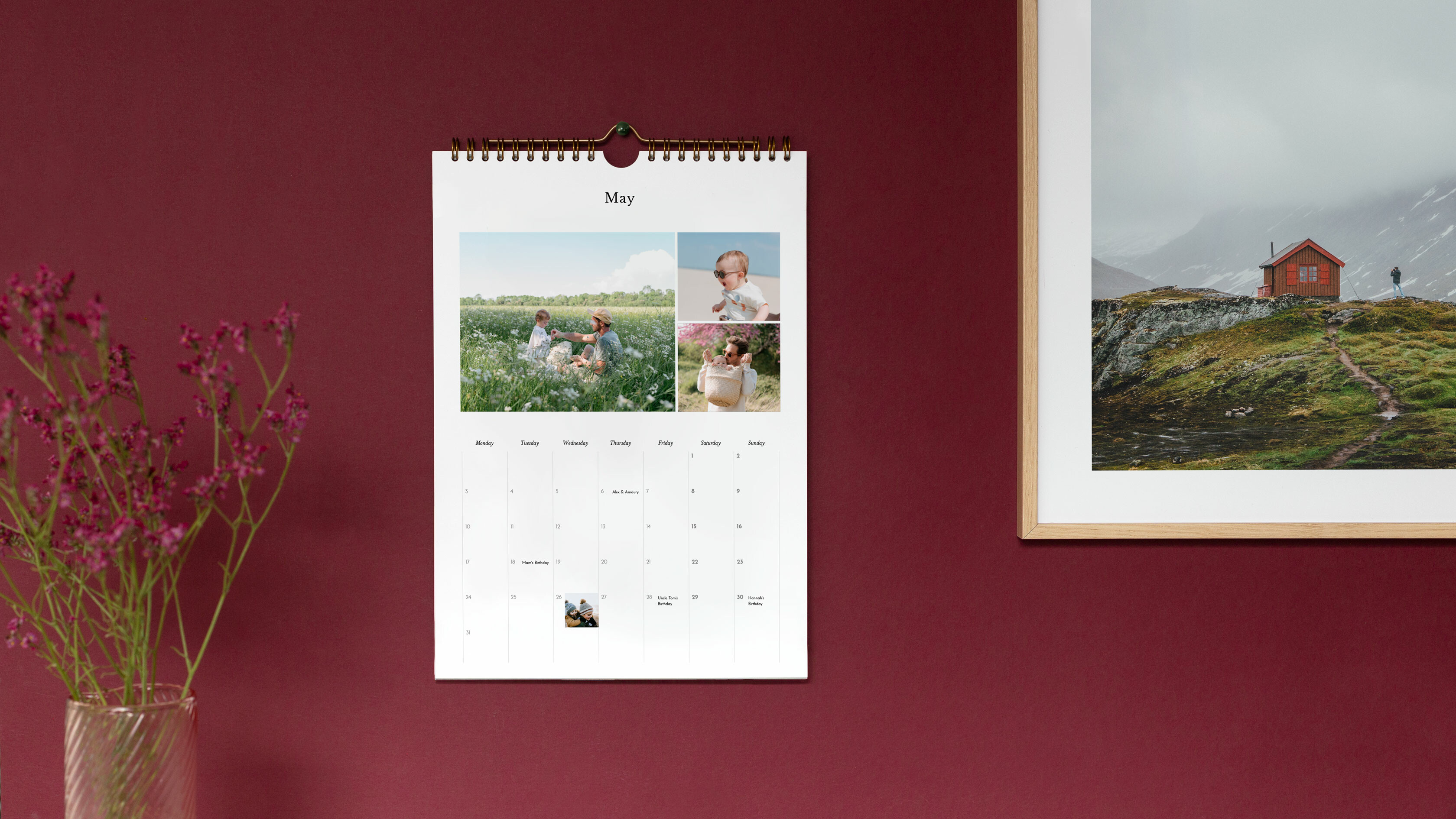 A4 personalised photo calendar at home