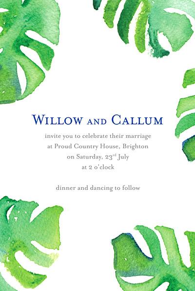 婚礼邀请阿卡普尔科白色和绿色培训