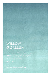 Watercolour blue tropical wedding invitations