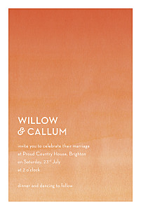 Watercolour orange orange wedding invitations