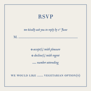 RSVP Cards Natural chic (square) blue