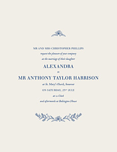 White natural chic blue wedding invitations