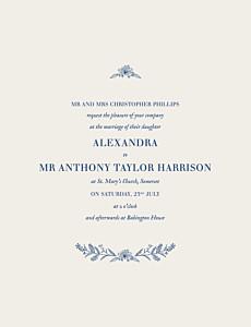 Natural chic blue blue wedding invitations