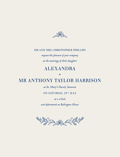 Wedding Invitations Natural chic blue