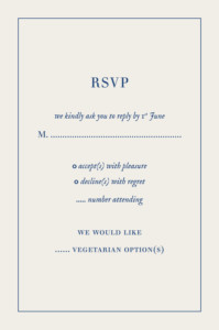 RSVP Cards Natural chic blue