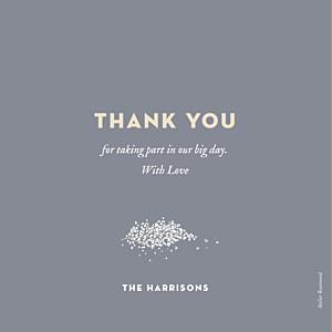 Baby's breath grey orange wedding thank you cards