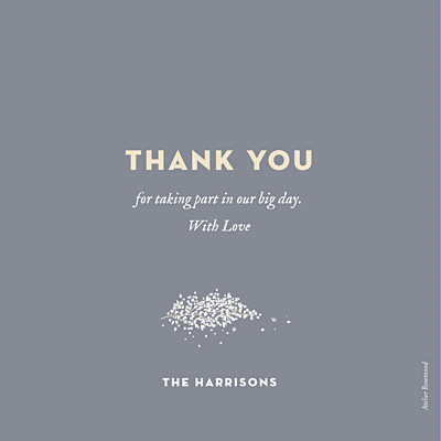 Wedding Thank You Cards Baby's breath grey finition