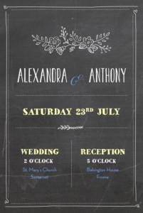 Wedding Invitations Slate black