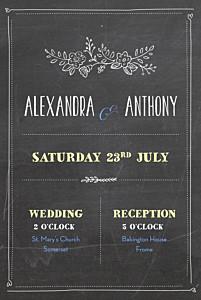 Slate black marion bizet wedding invitations