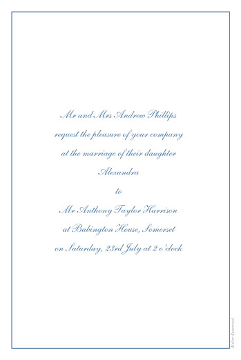 Wedding Invitations Chic border blue