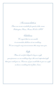 Guest Information Cards Chic border blue