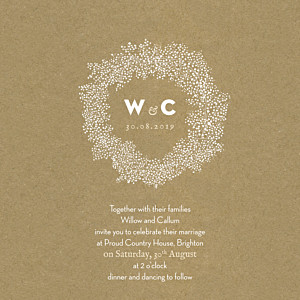 Baby's breath (square) kraft brown wedding invitations