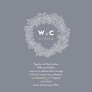 Baby's breath (square) grey wedding invitations