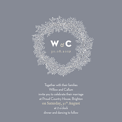 Wedding Invitations Baby's breath (square) grey finition