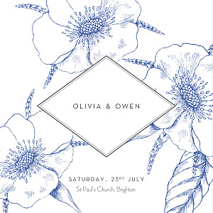 Engraved chic (4 pages) blue mr & mrs clynk  wedding invitations