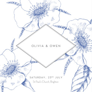 Wedding Invitations Engraved chic (4 pages) blue