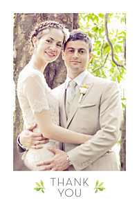 Forest whisper green wedding thank you cards