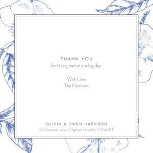 Wedding Thank You Cards Engraved chic blue