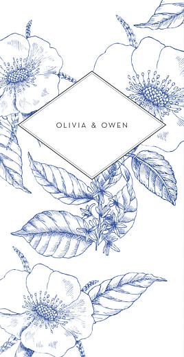Wedding Menus Engraved chic blue