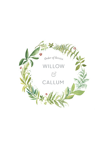 Wedding Order of Service Booklets Forest whisper green