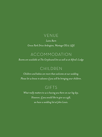 Guest Information Cards Forest whisper green