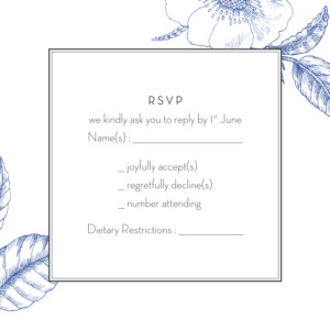 RSVP Cards Engraved chic blue