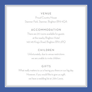 Guest Information Cards Engraved chic small blue