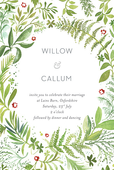 Wedding Invitations Forest whisper green finition