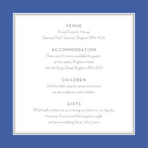 Guest Information Cards Engraved chic blue