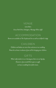 Guest Information Cards Forest whisper (small) green