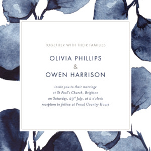 Wedding Invitations Deep floral blue