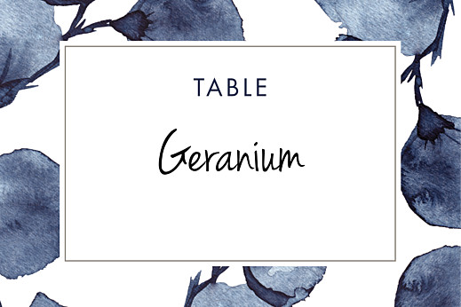 Wedding Table Numbers Deep floral blue