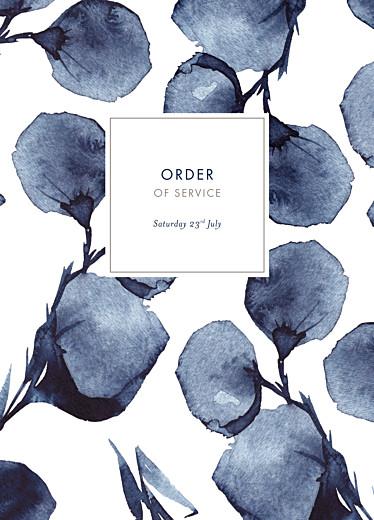 Wedding Order of Service Booklets Deep floral blue