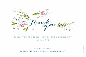 One spring day white floral wedding thank you cards