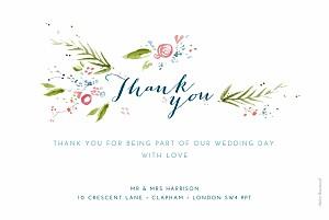 Petite alma  one spring day white wedding thank you cards