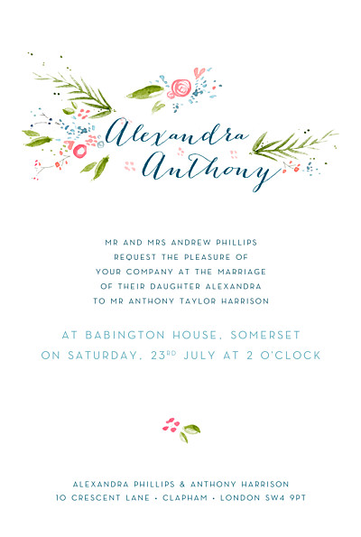 Wedding Invitations One spring day white finition