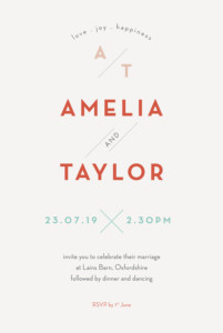 Wedding Invitations Graphique orange & turquoise