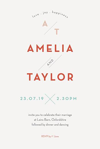 Wedding Invitations Graphique orange & turquoise