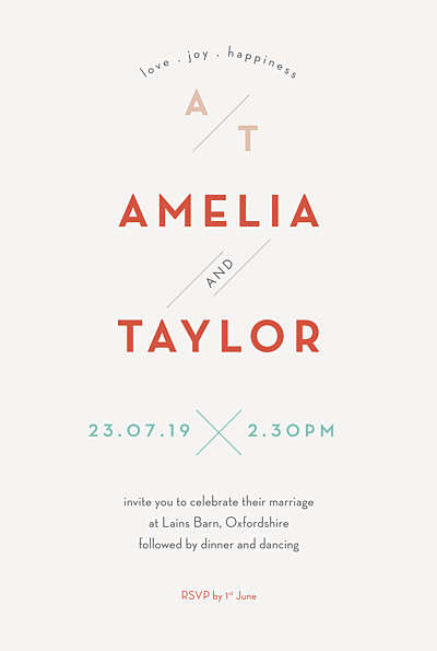 Wedding Invitations Graphique orange & turquoise finition
