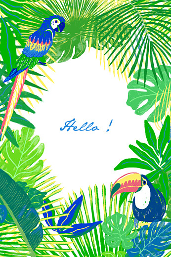 Notecards Tropical green