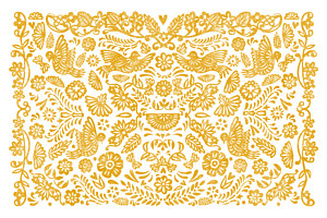 Papel picado yellow orange notecards