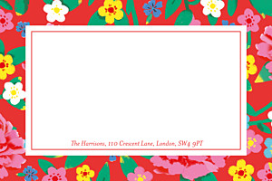 Peony red red notecards