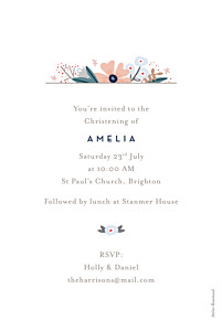 Christening Invitations Floral ribbon white
