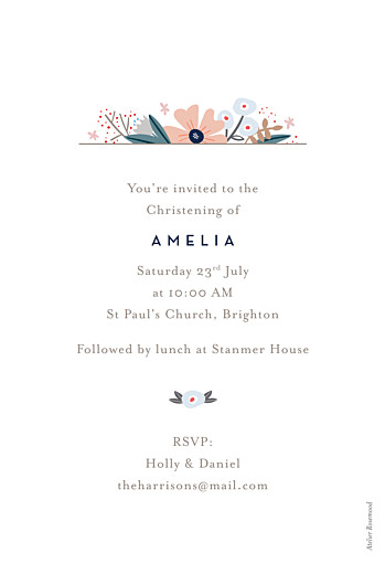 Christening Invitations Floral ribbon white - Page 2