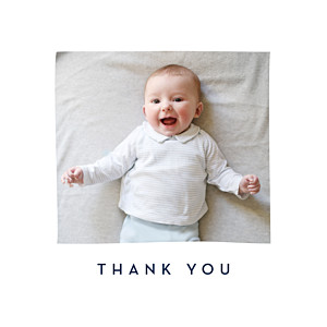 Floral ribbon white baby thank you cards