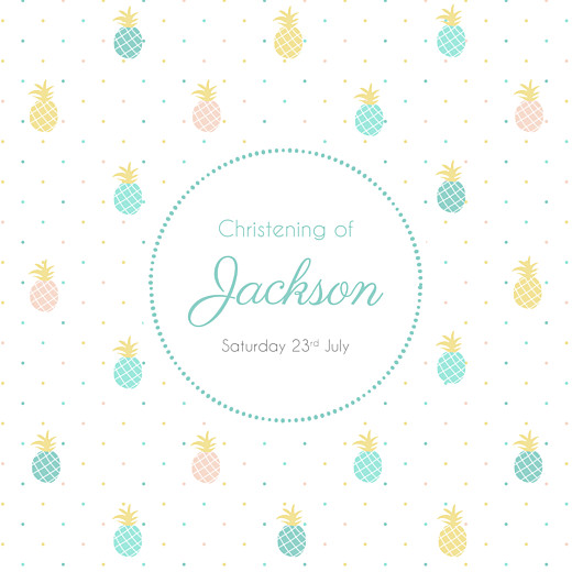 Christening Invitations Pineapple green