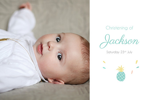 Christening Invitations Pineapple photo green - Page 1